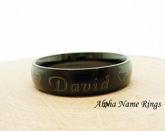 Personalized Brushed Matte Black Stainless Steel Unisex Name Ring 6mm Promise Ring-R027K