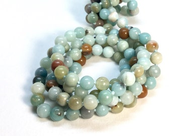 Long Amazonite Necklace Amazonite Bead Natural Stone Necklace 60 inches Long Aqua Beads Green Amazonite Jewelry