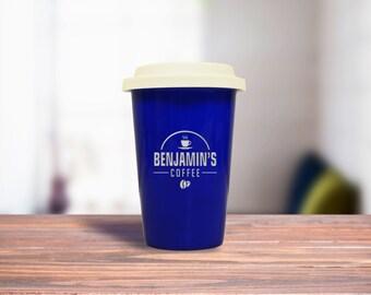 Blue Ceramic Latte Travel Mug, Personalized Office Gift Mug
