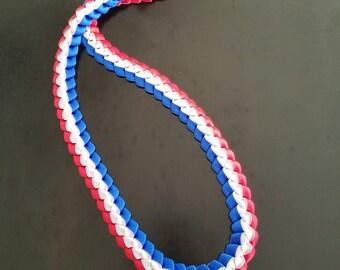 Graduation Lei - Ribbon Lei - Red, White, Blue - Ready to ship