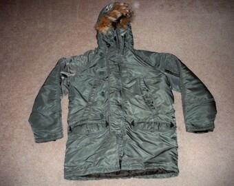 Vintage Spiewak Military Combat Snorkel Coyote Fur Hood N-3B Parka Jacket Coat Size 40 Made in USA