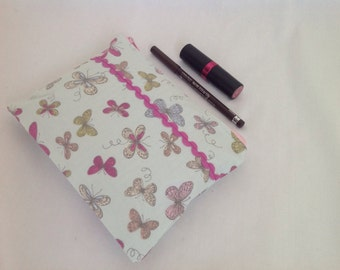 Pretty Butterfly Zipped Purse, Pouch, Cosmetic Bag, Accessory Pouch