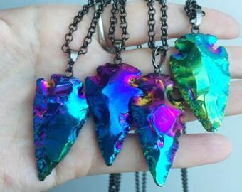 Titanium coated arrowhead necklace