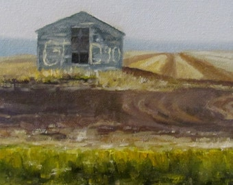 Original OIL Painting by CES - Canadian Landscape Old Farm Building Grain Bin Graduation Mini ART Wheat Field Farming Saskatchewan Rustic 6""