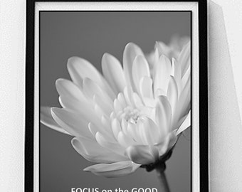 Inspirational Quote Coloring Page, Custom Printable, Quote Printable Wall Art, Flower Coloring Page, Greyscale Coloring, Focus on the Good