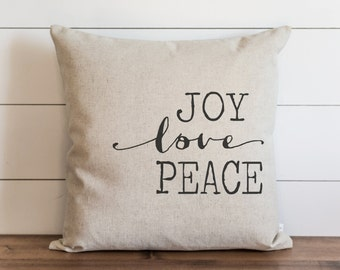 Joy, Love, Peace 20 x 20 Pillow Cover // Christmas // Holiday // Throw Pillow // Gift  // Accent