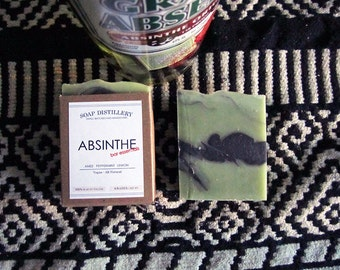 Absinthe Cold Process Soap Small Batch Anise Seed Peppermint Lemon Peel Vegan Bar Essentials