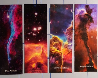 Nebula Space Bookmarks,  Set of Four, Full Color and Laminated