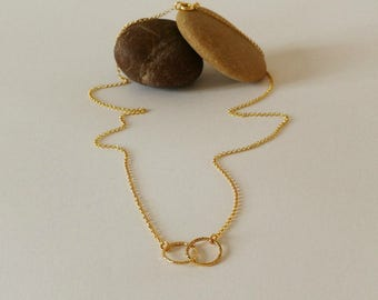 Tiny Gold Circles Necklace, Handmade Necklace, Gold Plated Sterling Silver, Dainty, Cute Circles Necklace, Modern, Simple Necklace