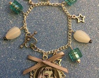 Frankie stein charm bracelet - monster high charm bracelet - handmade christmas gift - stocking filler