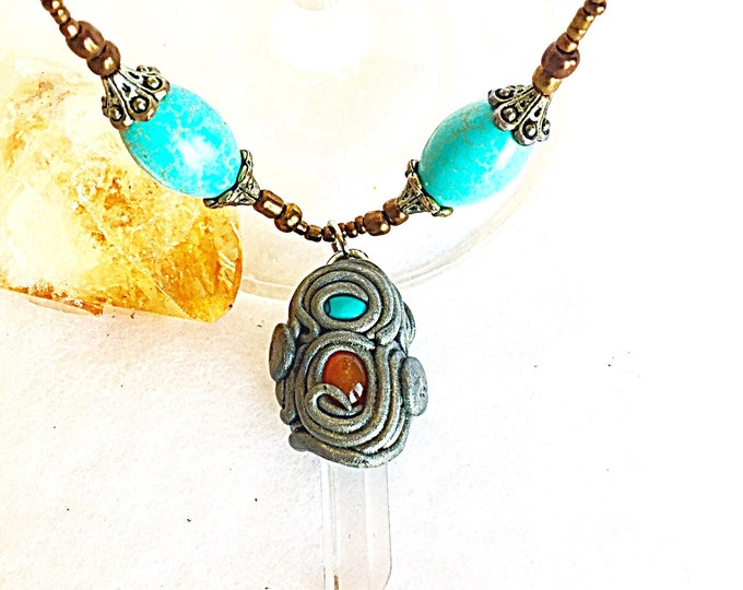 Turquoise, Orange Carnelian, Citrine, Crystal Quartz Point Silver Tribal Necklace, Crystal Pendant on Seed Beads, Protecting