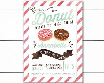 Donut Birthday Invitation, Donut Invitation, Donuts & Pajamas, Donut Party, Sweet Celebration, First Birthday