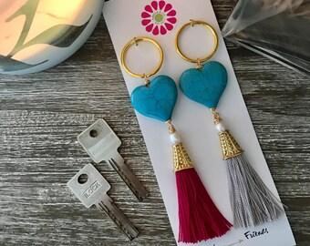 Heart + Tassel Keychain