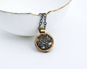 Lotus Flower Necklace. Lotus Flower Pendant. Lotus Jewelry. Gold Silver Lotus Flower Pendant Necklace. Yoga Necklace. Silver Lotus Charm