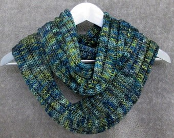 Merino Wool Infinity Scarf - Forest Green & Turquoise Shades