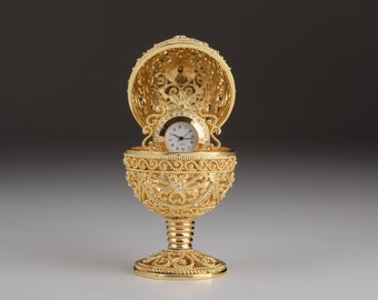 Gold Faberge Egg Trinket Box with Clock Handmade Collectors Box by Keren Kopal Decorated with Swarovski Crystals