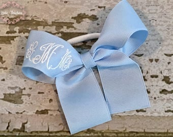 Bow Pony Tail Holder, Monogrammed Hair Tie, Pony O, Girls Hair Bow, Hair Tie