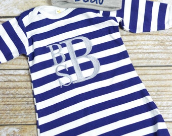 Baby boy monogrammed gown, baby boy take home outfit, monogrammed outfit navy stripe boys layette - Baby boy gift set, baby shower gift