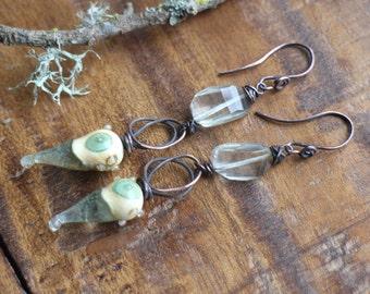 Tide Pool ~ Long seaside, solid copper, ocean wirework earrings, wire wrapped gemstone, lampwork glass earrings, seafoam green amethyst
