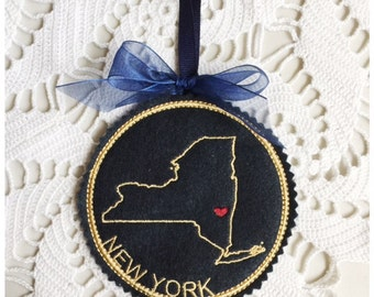I Heart New York Coaster and Ornament Machine Embroidery Design Instant Download I Love New York with Positionable Heart