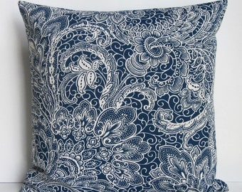 Navy Blue Pillow Cover Decorative Throw Paisley Floral 16x16 18x18 20x20 22x22 12x14 12x16 12x18 12x20 14x22 Zipper