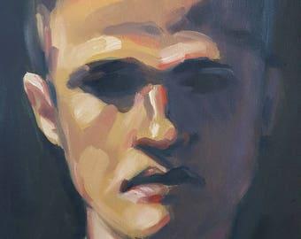 Man in Dark Shadow- Original Portrait Sketch Oil Painting- Handsome Masculine Figure- Small Art Impressionist Painting- Male Portrait