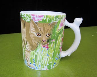 Cute Cat Mug Vintage Minou-ettes by C. Pradalie 1985 Ginger Tabby Among Bright Green Pink Blue Garden Grasses & Flowers Figural Cat Handle