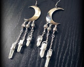 Moon Earrings with White Rainbow Crystals Hypoallergenic Handmade Crescent Moon Quartz Crystal Earrings