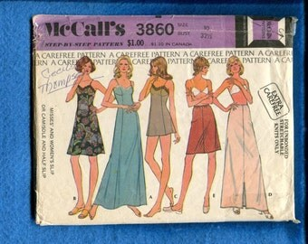 Vintage 1973 McCalls 3860 Full Slips in Three Lengths & Half Slips in Two Lengths Size 10