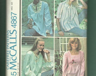 Vintage 1975  McCalls 4867 Country Chic Peasant Tops with Yoke & Neckline Choices Size 10/12 Small