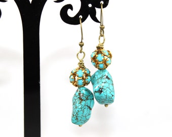 "2"" Wire Wrapped Chunky Turquoise Dangle Earrings on Antique Gold Toned Nickel Free Earwires"
