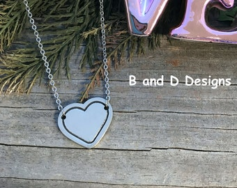 Personalized heart necklace  Love-  Heart- Valentine's Day - Anniversary