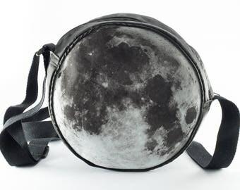 Full Moon Shoulder Bag - Lunar Messenger Bag - Moon Child - Black & White Grunge