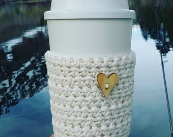 Crochet coffee cup cozy, great for camping, hiking. Crochet coffee sleeve, crochet coffee cozie