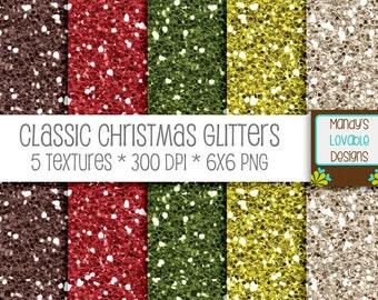 SALE - Christmas Digital Glitter Texture - Green, Red, Brown, Cream - Scrapbooking, Photography, Blog Design, Invitations - High Resolution