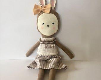 Linen bunny doll- Bunny doll- Kawaii bunny