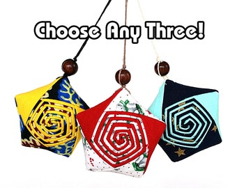 Lucky Star Ornament Bundle (Medium) - Any Three Upcycled/ Vintage Fabric Origami Star Ornament Special Offer