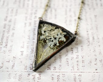 Lichen Jewelry Moss Necklace Bohemian Necklace Woodland Pendant Soldered Pendant Terrarium Necklace Womens Gift Mothers Day gift