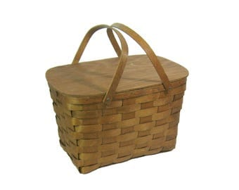 Vintage Wood Splint Picnic Basket with Hinged Lid & Swing Handles