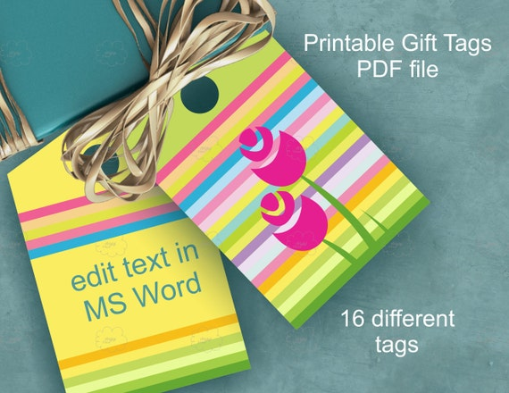 Spring Gift Tags, Colorful Lines and Flowers, Easter Printables, Spring Holidays Favor tags Download