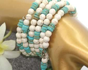 Beaded Bracelet - Turquoise and White Beaded Memory Wire Bracelet  - Boho, Bohemian, Wrap Bracelet, Memory Wire Bracelet, Beaded Bracelet
