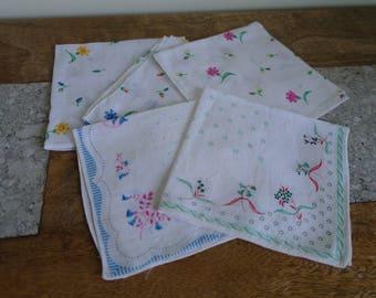 Floral Cotton Handkerchief, Floral Hanky, Ladies Hankies x 6.