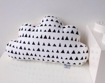 Cloud pillow with black & white print