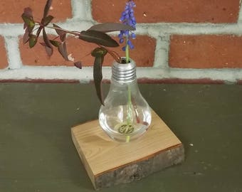 Glass Bud Vase Handcrafted Bud Vase Crafted from Upcycled Light Bulbs and Salvaged Cherry Wood