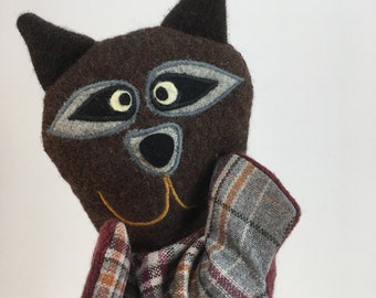 Raccoon Puppet-- Made from felted wool sweaters--Free Shipping!