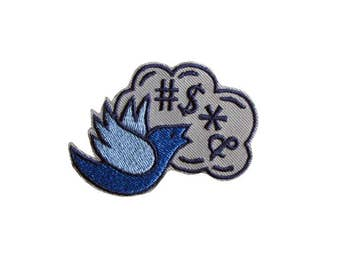 Tweet Cursing Bird Embroidered Patch. Iron On Patch, Swearing Bird, Twitter Bird Patch, Cursing Bird, Curse Tweet, Fun Patch, Fashion Patch