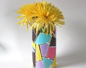 Pink, Blue, Yellow, Brown, Purple Graphic Vase - Hand Painted | Shapes, Geometric, Colourful, Bright, Spring, Gift, Wedding, Housewarming