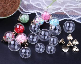 50pcs 16mm-18mm Mini Empty Glass Ball Bottles Pendant Charms Vials Wish Bottles Clear glass globe bubble crystal Glass Ball and caps
