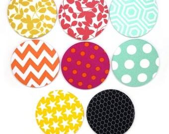 Handbag mirrors | pocket mirrors  | fabric mirrors | gift for mum | small gift for teacher | hexagon | stars | chevrons | flowers | dotty