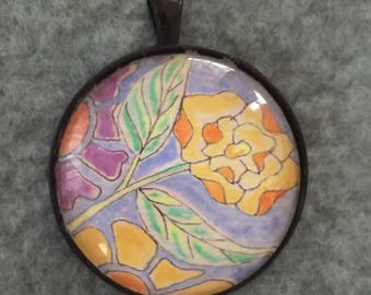 Flower,necklace, hand painted design